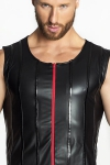 Veste sans Manches en Wetlook Mat Noir Handmade Stronger Red Line