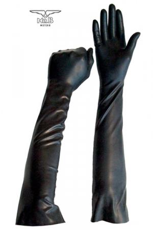 Gants Longs en Latex pour Fist - Paire de gants longs pour fist et jeux BDSM. Fabriqués en latex souple et fin, idéal pour un fist profond et technique. Ces gants solides remontent au début de l'avant bras. Lavage à l'eau et au savon.