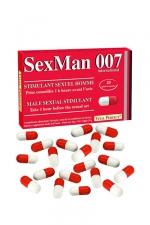 20 Gélules Aphrodisiaque SexMan 007 - 20 gélules aphrodisiaques pour hommes à base d'ingrédients naturels : défoncez tous culs des passifs pendant des heures, retrouvez forme physique et vigueur avec ces gélules made in France
