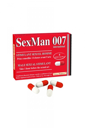 Aphrodisiaque SexMan 007 - 4 g�lules - 4 G�lules aphrodisiaques pour hommes, pour booster la virilit� et les performances sexuelles.