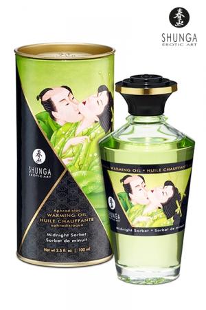 Huile Biologique Chauffante et Aromatisée Sorbet de Minuit - Huile aphrodisiaque comestible et chauffante parfumée au Sorbet de Minuit, une saveur exceptionnelle qui décuple vos envies sexuelles. Cette huile de massage est certifiée bio à 100%.