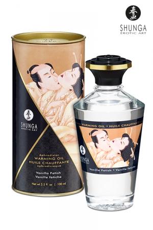 Huile Bio Chauffante et Comestible à la Vanille Shunga - Cette huile aphrodisiaque est bio, chauffante et comestible ! Elle est parfumée à la vanille chauffe la peau quand vous l'embrassez, soufflez dessus ou quand vous la massez. Cette huile érotique est fabriquée par Shunga.