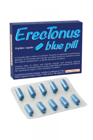 10 Gélules Aphrodisiaques Naturelles Vital Perfect Erectonus Blue Pills