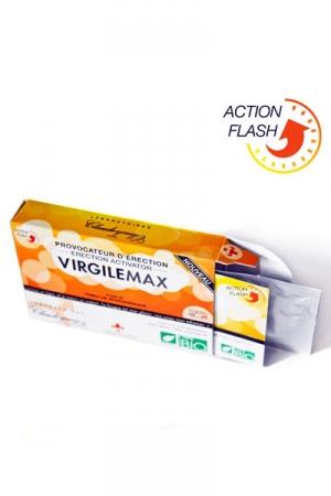 VMax - Provocateur d'érection Flash (1dose) - Virgile Max Bio provoque une érection en moins de 30 minutes. Il est composé d'ingrédients 100% végétaux et biologiques à 75%. Il stimule le désir, booste la libido et accroit votre endurance sexuelle.