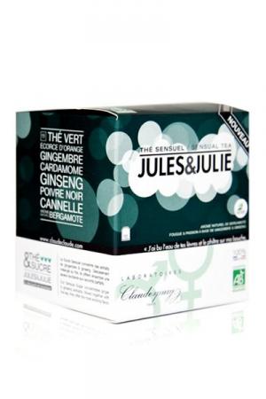 Th� Sensuel Jules&Julie (10 sachets) - Thé Vert Bio Aphrodisiaque au Ginseng, Gingembre, Cardamone, Canelle et Poivre noir : à boire avant l'action pour profiter de ses vertus stimulantes et excitantes.