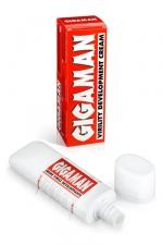 Crème Massage Développante Gigaman : Crème de massage qui développe le pénis avec de vrais résultats. Sa formule tonifie la verge, accroit l'érection : vous bandez mieux et accroissez votre jouissance.