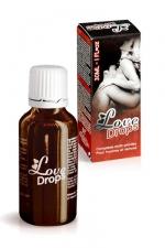 Love Drops Stimulant Sexuel Aphrodisiaque 30 ml - Stimulant sexuel aphrodisiaque à base de plantes naturelles : il booste vos envies sexuelles et renforce votre érection. A consommer 15 minutes avant de faire l'amour.