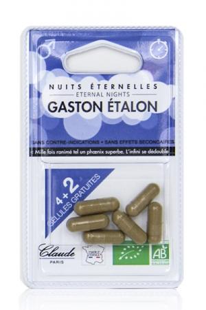 Retardateur masculin Gaston Etalon (6 gélules) - Envie de tester notre retardateur de jouissance bio made in France ? Avec ce petit blister de 4 gélules + 2 offertes, c'est facile. Composé d'ingrédients végétaux biologiques, Gaston Etalon traite l'éjaculation précoce.