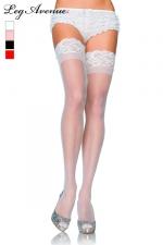 Bas en Voile et Jarretière Autofixante en Dentelle pour Travesti - Bas en voile pour travesti avec une jarretière autofixante en douce dentelle. Disponible en blanc, chair, noir et rouge.
