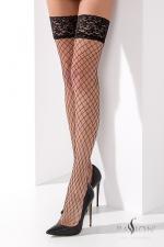 Bas Résille Autofixant Noir Passion : Envie de séduction ? Cette paire de bas résille autofixant noir passion pour travesti.e possède une jarretière dentelle autofixante. La résille à larges mailles est très sexy et attire l'oeil sur vos jambes, vous rendant terriblement féminine.