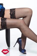 Bas Résille à Filet en Nylon et Jarretière en Dentelle Coquette - Grande taille. La résille présentée sous forme d'un filet sexy associé au glamour de la jarretière en dentelle. Pour des bas sensuels et sexy qui vous donnent des jambes magnifiques.