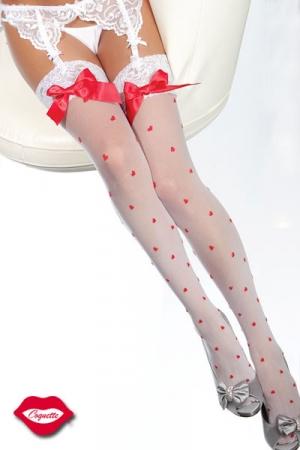 Bas Romantiques Satin et Dentelle - Laissez parler la jeune fille amoureuse fraîche et tendre qui se cache en vous avec ces bas romantiques parsemés de petits coeurs. Leur jarretière est en dentelle fine et ils sont ornés d'un noeud rouge en satin.