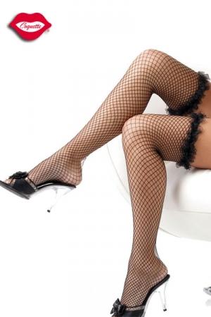 Bas Résille à Jarretière Elastique en Dentelle - Froufrous de dentelle sur la jarretière, résille large et provocante, ces bas fins raviront tous les travestis. Ils habillent vos jambes avec une féminité sexy.
