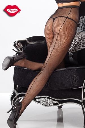 Collant Résille et Couture en Strass Coquette - Collants en résille au fin quadrillage avec une fine couture en strass qui ravissent votre soif de féminité. La couture remonte des pieds à vos hanches pour arborer un look charmeur.