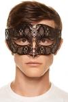 Masque Vénitien Homme en Métal - Ce masque vénitien pour homme est ciselé dans un métal noir découpé au laser. Il est orné de strass brillants et de gemmes noirs. Enfilez ce masque et devenez plus séduisant et mystérieux. Fermeture par un ruban en satin ajustable derrière la tête.