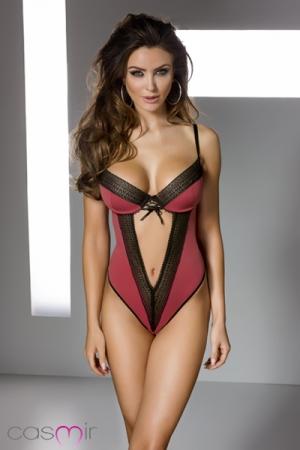 Body Gill Lingerie en Lycra Rouge et Dentelle Noire pour Travesti - Body lingerie rouge grenadine en lycra bordé de dentelle noire qui remonte et dessine votre poitrine