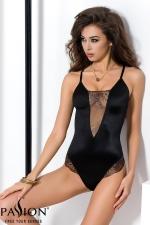Body Noir Scintillant en Tulle pour Travestie Passion Brida - Body sensuel fabriqué dans un tulle noir transparent avec des broderies et un tissu noir moulant et scintillant pour une sissy qui aime se dévoiler. Dos nu et design qui moule et souligne votre chatte anale et vos hanches.