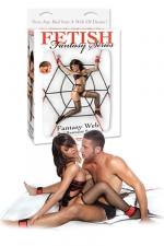 Kit Bondage Fantasy Web Bed Restraint System - Un kit de bondage amovible pour lit avec 4 menottes poignets et chevilles, cordes en nylon en forme de toile d'araignée adaptables à tous types de matelas. Parfait pour s'initier