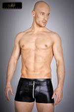 Short zippé Nolan - Short zippé en lycra wetlook, une seconde peau noir brillant qui vous met en valeur.