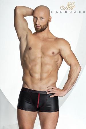 Short Moulant Taille Basse Noir Handmade Stronger Red Line - Short et boxer moulant taille basse en wetlook noir décoré de piqures et d'un zip rouge pour mettre en valeur vos atouts virils. Il est disponible jusqu'au XXXL et est fabriqué par Noir Handmade.