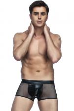Boxer Homme en Résille et Wetlook Noir - Boxer homme en résille noire transparente et wetlook fabriqué par Paris Hollywood. Un sous vêtement très sexy et confortable qui cache votre sexe et montre vos fesses. Large élastique qui souligne la taille.