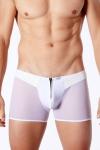 Boxer Blanc Transparent avec Zip LookMe Cube - Boxer blanc avec un zip sur sa coquille pour dégainer votre sexe, transparent sur les cuisses et les fesses. Parfait pour draguer les mecs en soirée sous vêtements gays. Bande de tulle sur les fesses, jeux de matière érotique.