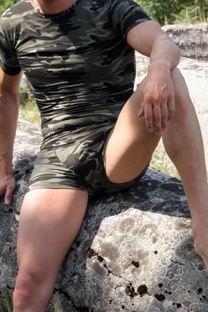 Boxer Militaire - Boxer militaire moulant en lycra : son tissu extensible moule votre gros fusil ! Soyez prêt à dégainer avec ce boxer homme sexy et viril.