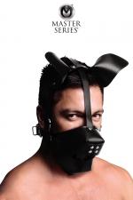 Masque de chien avec baillon boule - Masque de chien en cuir avec museau amovible et  gagged ball intégré, par XR Brands, collection Master Series.