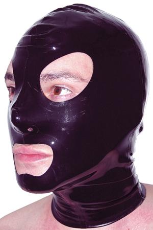 Cagoule latex - Cagoule en latex noir haute qualité, fabriqué par Honour. Elle possède des orifices de respirations et des ouvertures pour les yeux et la bouche.