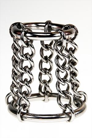 Chain Cock Cage - Un cock ring sous forme de cage pour votre verge et vos bourses : décuple vos performances sexuelles et magnifie votre sexe.
