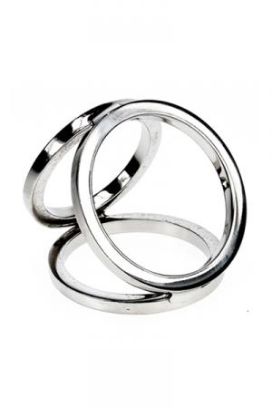 Triple cock and balls ring - Un cockring 3 anneaux en m�tal pour enserrer votre verge & vos bourses ! Plus performant, plus longtemps avec cet anneau de sexe en acier pour de longues �rections !