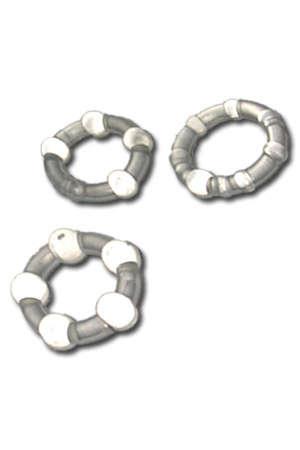 Set 3 Cockrings Silicone - 3 cockrings extensibles en silicone à glisser sur le pénis de votre partenaire ou sur un vibro. Diamètres : 21 mm, 23 mm, 24 mm.