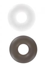 Paire de Bagues d'Erection Toy Joy Stud Rings : La noire pour la puissance, la blanche pour l'endurance, une paire de bagues d'érection extensibles à utiliser pour mieux gérer votre érection. Fabriqué en TPE souple par Toyjoy