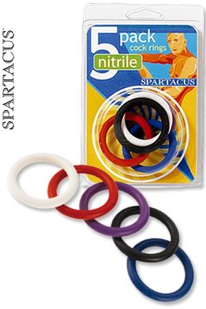 Pack 5 CockRings Nitrile - Un pack de 5 cock rings color�s en Nitrile, r�sistants et flexibles, haute qualit�.
