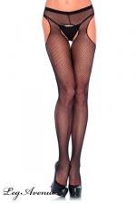 Collant en Résille Ouvert pour Travesti - Collant ouvert en résille pour travesti, disponible en blanc, noir ou rouge. Ouvertures à l'entrejambe et aux hanches.