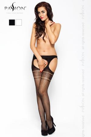 Collants Ouverts sur le Sexe et les Fesses pour Travesti - Collant ouvert sur votre sexe et vos fesses : très osé, ce collant ouvert pour travesti est en résille avec des motifs de coeurs et de plumes. Il est disponible du 36 au 42.