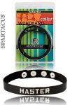 """Collier Master Spartacus - Collier en cuir huilé très haute qualité fabriqué à la main par Spartacus, avec la mention """"Master"""" ou maître pour bien montrer qui domine."""
