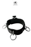 Collier 3 rings - Spartacus - Collier BDSM en cuir avec 4 anneaux triangulés et 3 anneaux larges pour tous types de jeux et ou comme symbole de votre appartenance. Doublure en cuir souple et sensuel et emplacement pour cadenas pour rendre ce collier invulnérable.
