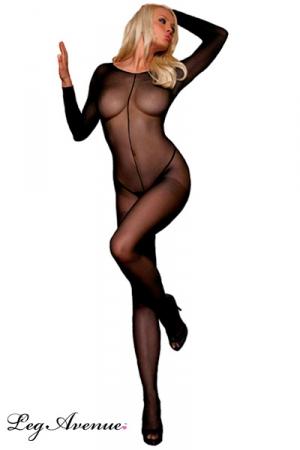 Combinaison Intégrale pour Travesti en Voile Couture - Combinaison intégrale transparente en voile pour travesti avec une couture du cou à l'entrejambe. Elle gaine et souligne vos attributs.