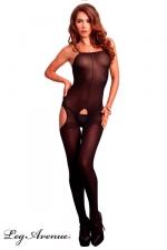 Combinaison Ouverte en Voile Opaque pour Travesti - Combinaison en voile opaque noir avec des ouvertures sur les fesses, le sexe, les cuisses et de fines bretelles.