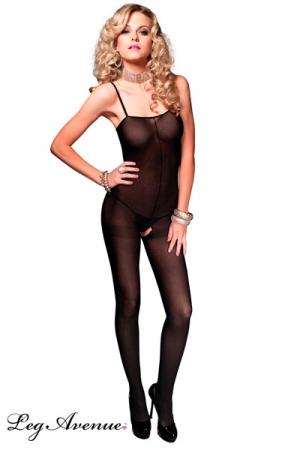 Combinaison Ouverte en Voile Opaque pour Travesti Leg Avenue Milan - Combinaison confortable pour travesti fabriquée dans un voile noir opaque avec de fines bretelles et une ouverture à l'entrejambe.