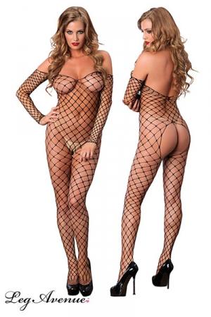 Combinaison Filet Ouverte à Larges Mailles pour Travesti - Combinaison filet à larges mailles très ouverte sur votre derrière pour un travesti qui aime s'exhiber et montrer sa féminité.