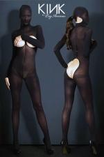 Combinaison Ouverte à Cagoule en Voile Opaque pour Travesti - Combinaison en voile opaque avec une cagoule, ouverte sur les seins et les fesses, pour un travesti soumis