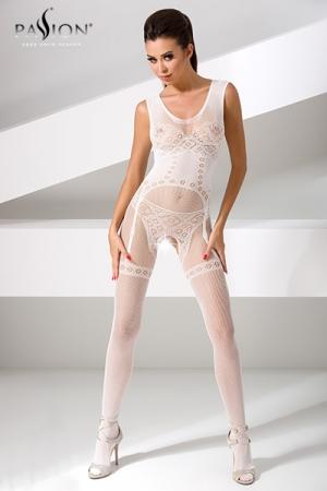 Combinaison Blanche Erotique en Résille Ouverte pour Sissy - Combinaison ouverte pour sissy, fabriquée en résille blanche. Très érotique, sa maille dessine un motif guêpière et string sur votre corps. Un vêtement sexy pour une sissy qui aime se montrer et être caressée.