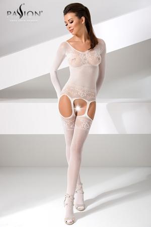 Catsuit Blanc et Ouvert à Manches Longues pour Sissy - Catsuit blanc et ouvert, très sexy, à manches longues pour sissy. Il est fabriqué dans une résille blanche et extensible avec un motif floral. Cette combinaison vous féminise et vous rend toujours disponible pour les mâles.
