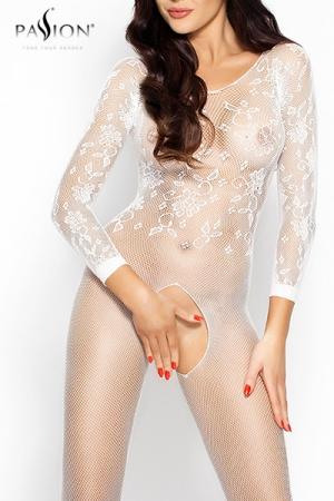 Combinaison Sexy Ouverte en Résille Passion Romantic - Combinaison en résille brodée avec une ouverture intime pour travesti et femme, un fourreau féminin qui se décore de quelques fleurs sur votre torse. A porter sous vos vêtements ou dans l'intimité.