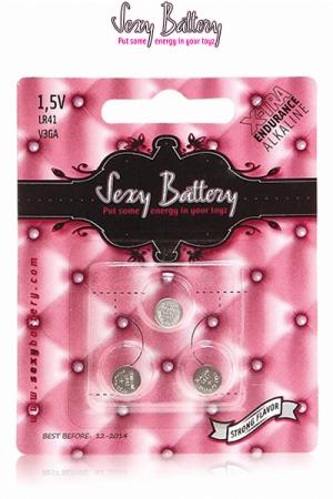 Sexy battery - Piles LR41 x3 - 3 piles boutons LR41 au lithium pour sextoys et télécommande fabriquées par Sexy Battery
