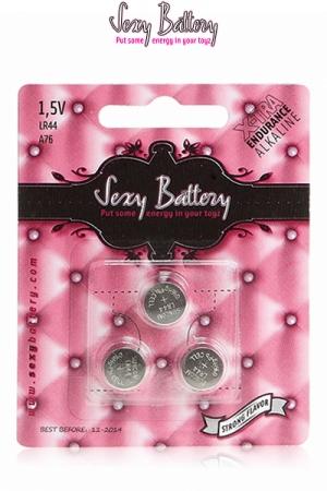 Sexy battery - Piles LR44 x3 - 3 piles boutons LR44 au lithium pour sextoys et télécommandes développés par Sexy Battery, le spécialiste de la pile pour accessoire coquin.
