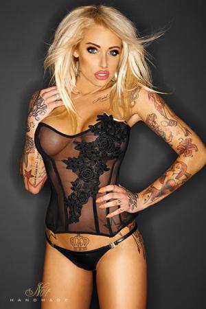 Corset Féminin en Tulle Noir Handmade Amorous - Corset en tulle transparent pour femme et travesti qui vous donne une superbe silhouette avec ses tiges de renfort et vous offre aux regards. Fleurs brodées et perles de sequins à l'avant, laçage dans le dos.