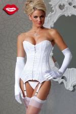 Corset Blanc Grande Taille avec Jarretelles Amovibles - En satin blanc et voile de dentelle, ce corset grande taille, jusqu'au XXXL, vous pare d'une féminité de vierge. Il vous sculpte une taille très fine et possède des jarretelles amovibles pour plus de sensualité.